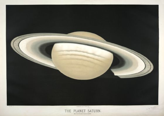 Trouvelot, Etienne Leopold: The Planet Saturn. (The Trouvelot Astronomical Drawings, 1882) Astronomy/Space Print/Poster. Sizes: A1/A2/A3/A4 (0028)